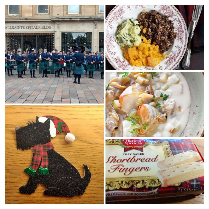 Banda de gaita de fole vestindo kilt; cartão de Natal com detalhes em tartan; haggis neeps and tatties; cullen skink ; shortbread