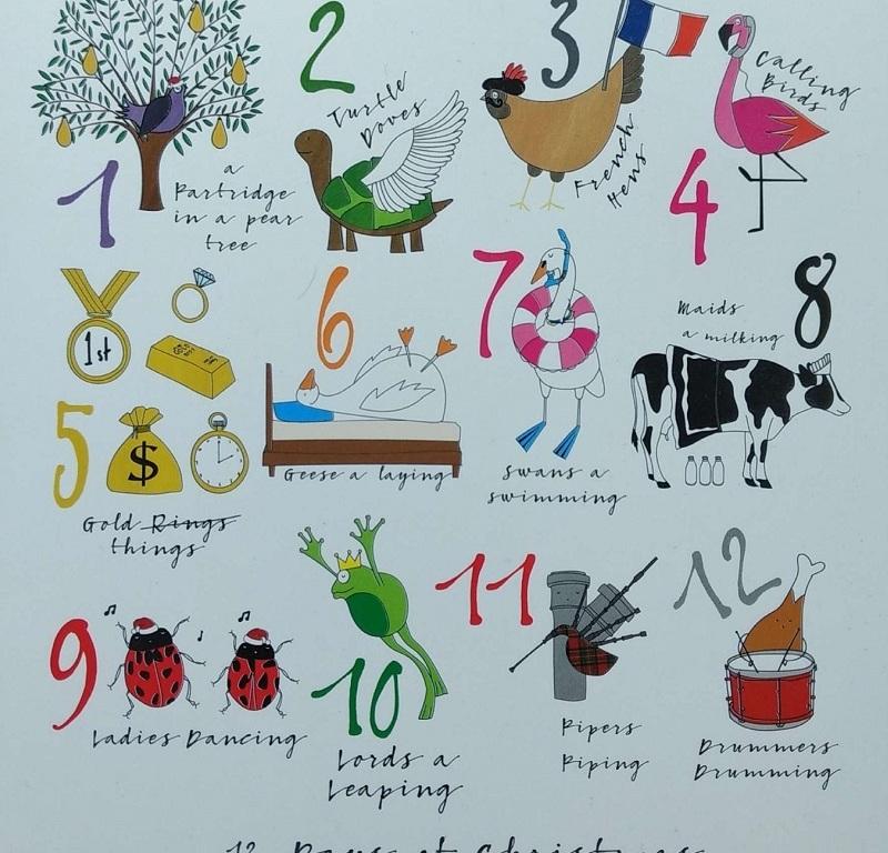 Cartão de Natal com a representação dos 12 Days of Christmas